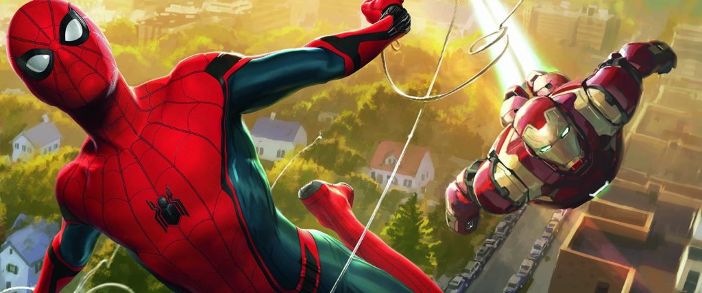 Spider-Man teams with Iron Man in Spider-Man: Homecoming.