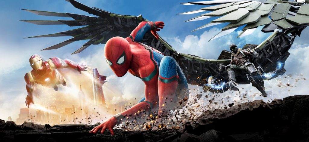 Spider-Man battles the Vulture in Spider-Man: Homecoming.