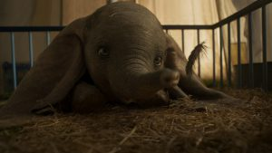 "EARS TO YOU – In Disney's all-new, live-action feature film ""Dumbo,"" a newborn elephant with oversized ears make him a laughingstock in an already struggling circus. But Dumbo takes everyone by surprise when they discover he can fly. Directed by Tim Burton, ""Dumbo"" flies into theaters on March 29, 2019. ©2018 Disney Enterprises, Inc. All Rights Reserved."