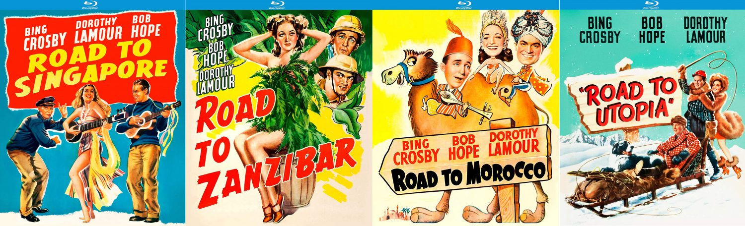 "Bob Hope and Bing Crosby headline the ""Road to"" movie series, ""Road to Singapore,"" Road to Zanzibar,"" ""Road to Morocco"" and ""Road to Utopia,"" all of which get blu-ray releases this week from Kino Lorber Studio Classics."