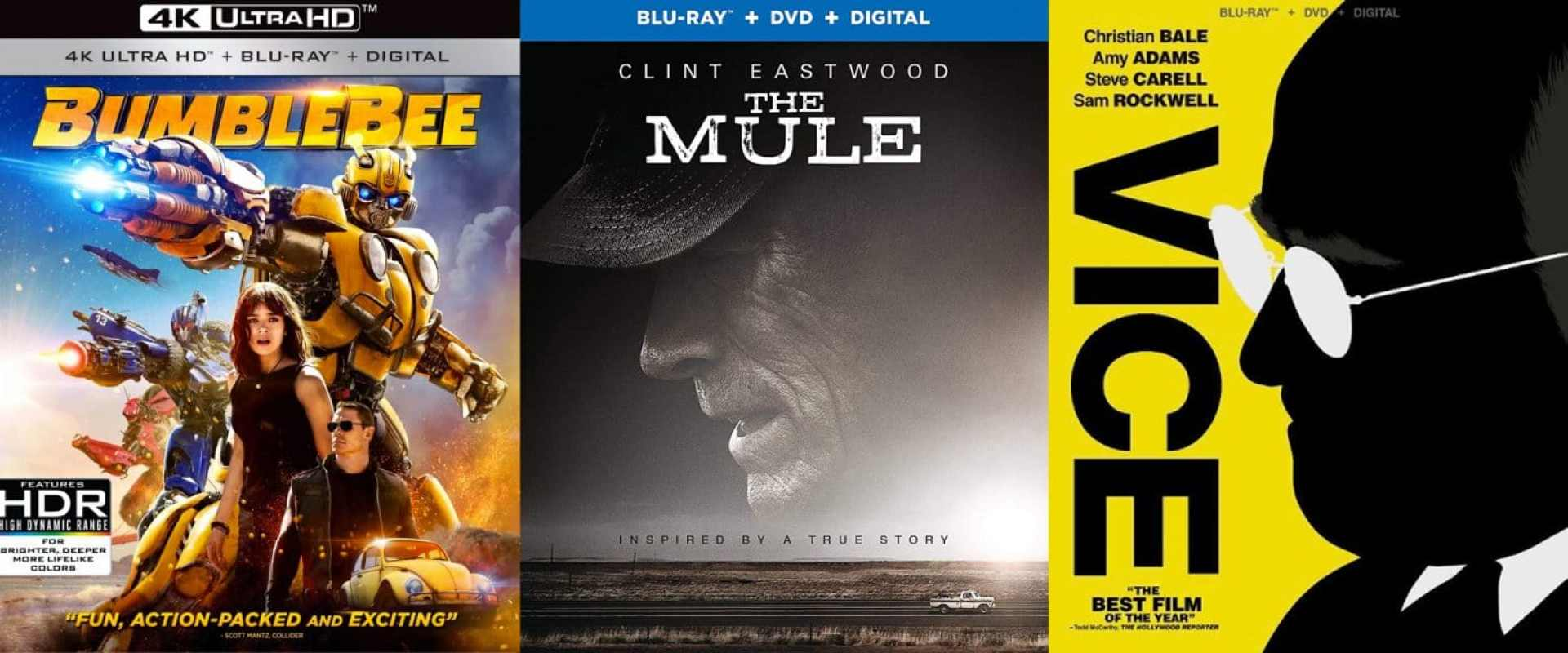 Bumblebee, The Mule and Vice are coming home this week on DVD and Blu-ray.