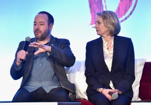 """BEVERLY HILLS, CA - MARCH 10: Producers Derek Frey (L) and Katterli Frauenfelder speak onstage during the """"Dumbo"""" Global Press Conference at The Beverly Hilton Hotel on March 10, 2019 in Los Angeles, California. (Photo by Alberto E. Rodriguez/Getty Images for Disney) *** Local Caption *** Katterli Frauenfelder; Derek Frey"""