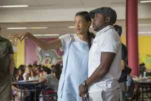 (from left) Director and co-writer Tina Gordon and producer Will Packer on the set of Little.