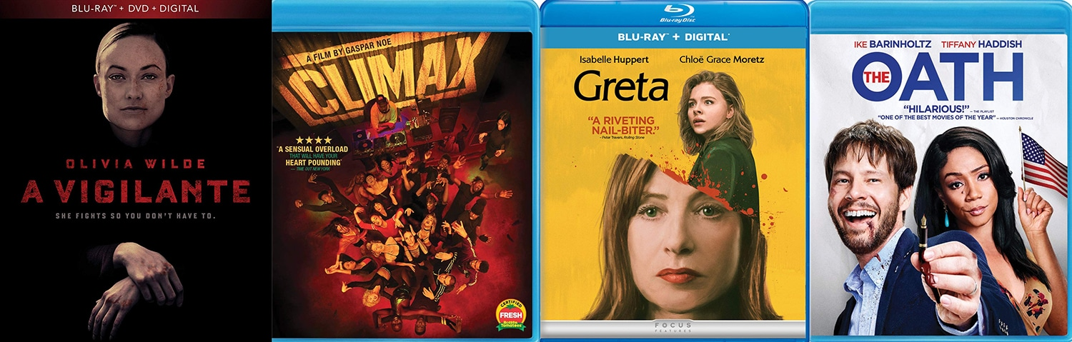 New releases on May 28 include Climax, Greta, A Vigilante and The Oath on Blu-ray.