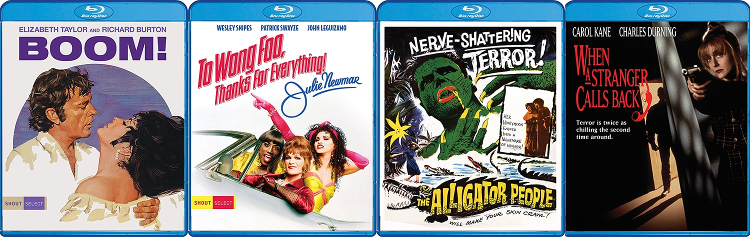 From Shout Select comes From Wong Foo, Thanks for Everything! Julie Newmar and Boom while, from Scream Factory, there are blu-rays of Blue Velvet and One Sings, the Other Doesn't.