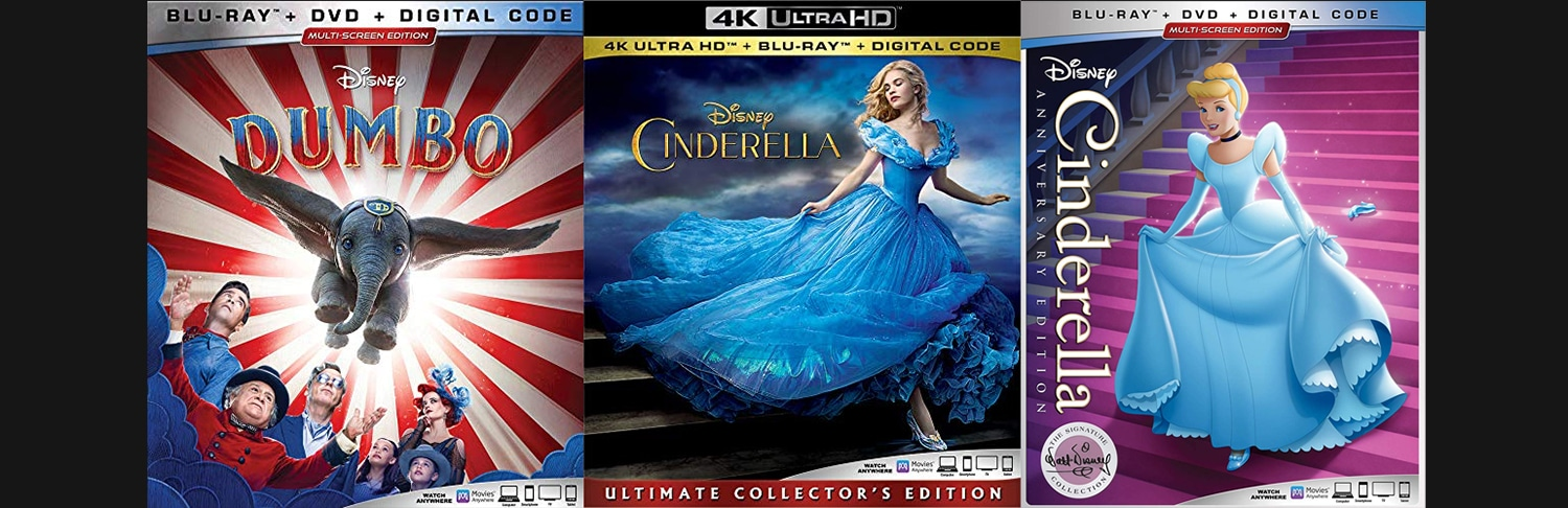 Disney is bringing home Dumbo and two different versions of Cinderella to DVD, Blu-ray and 4K Ultra HD this week.