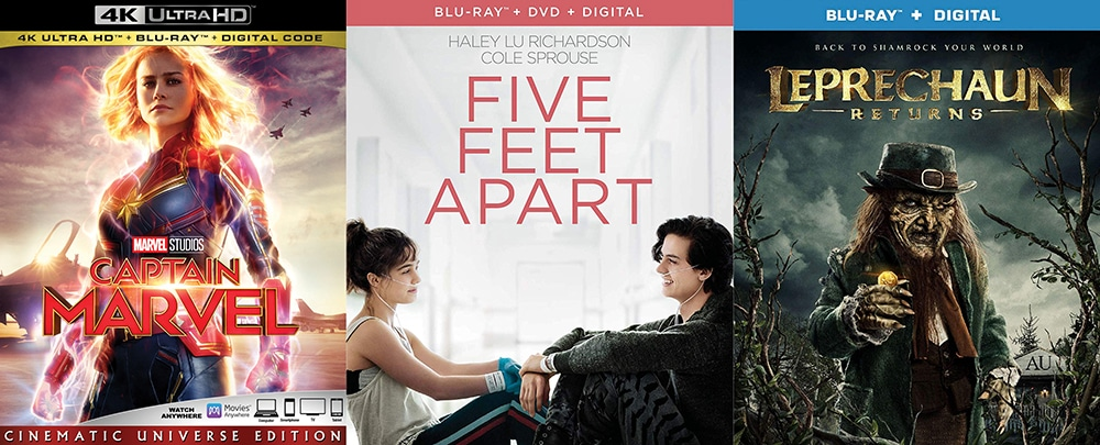 New releases this week include Captain Marvel, Five Feet Apart and Leprechaun Returns.