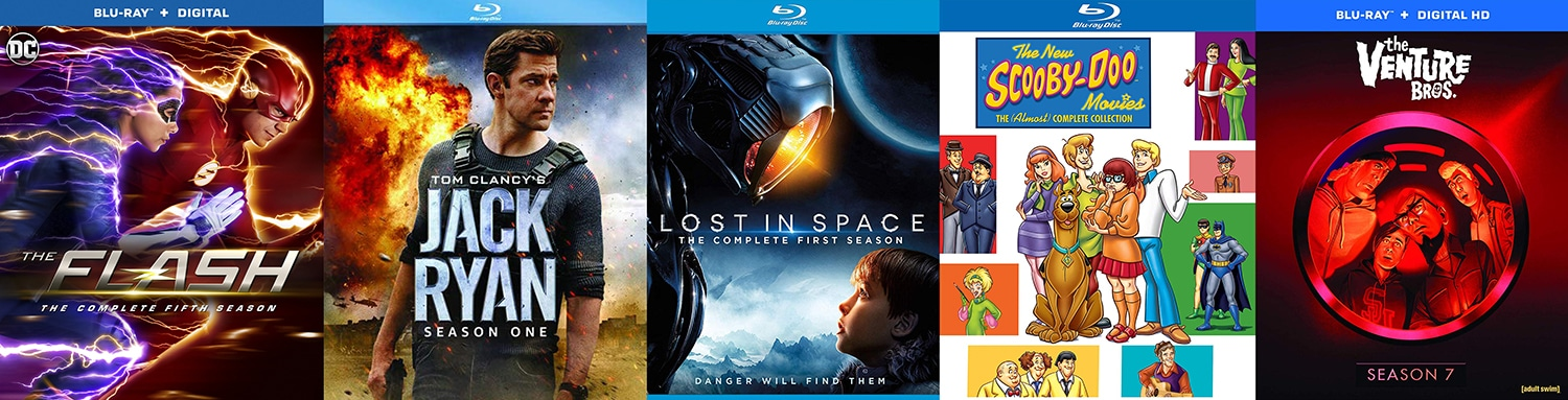 Lots of TV titles are coming to Blu-ray this week, including Lost in Space, The Flash, Jack Ryan, the new Scooby Doo Movies, Venture Bros and more!