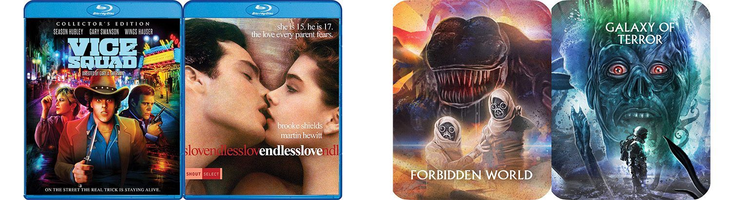 Look for new steelbooks from Shout Factory and Scream Factory with Forbidden World and Galaxy of Terror.