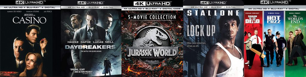 Look for new 4K titles coming to Ultra HD blu-ray such as Daybreakers, Lockup, The Jurassic World five film collection, Casino and the Edgar Wright Cornetto trilogy.