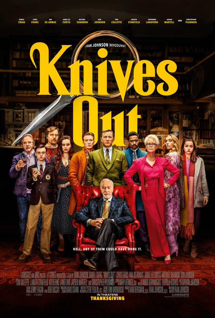 Take a look at the final one sheet poster design for Rian Johnson's Knives Out movie.
