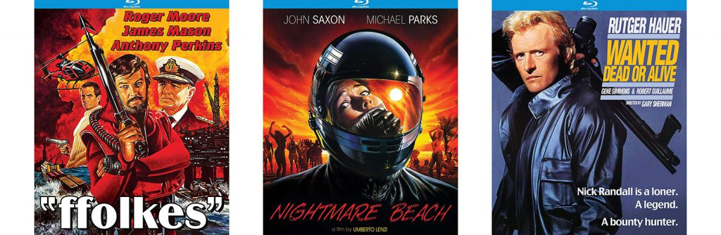 Look for new titles from Kino Lorber Studio Classics, including blu-ray editions of Ffolkes, Nightmare Beach and Wanted Dead or Alive.