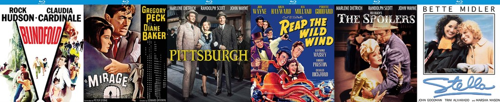 Look for more great Kino Lorber Studio Classic releases hitting Blu-ray this week including Reap the Wild Wind, Pittsburgh, The Spoilers, Stella, Mirage and Blindfolded.