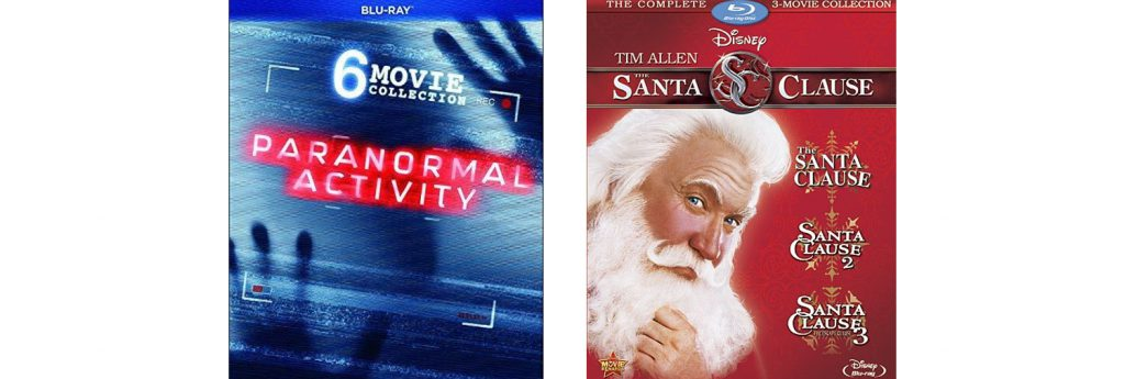 Paramount Pictures is releasing a six-film Paranormal Activity collection and Disney is releasing a three-film Santa Clause collection.