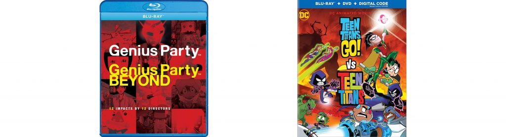 Look for genius Party, Genius Party beyond and Teen Titans vs teen titans Go! on blu-ray and dvd today.