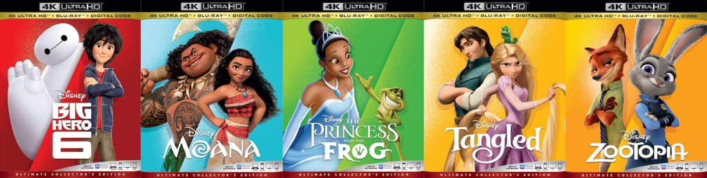 Disney is bringing to 4K Ultra HD Zootopia, Moana, The Princess and the Frog, Big Hero 6 and Tangled.