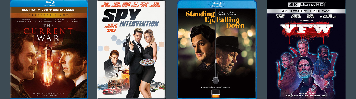 The Current War, Spy Intervention, Standing Up, Falling Down and VFW all come to DVD and Blu-ray this week.