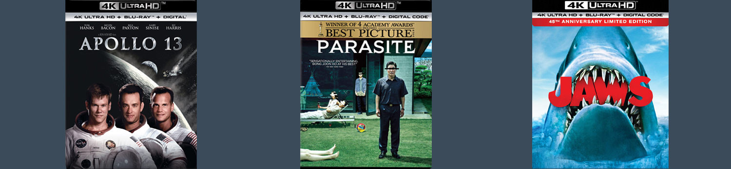 Jaws, Apollo 13 and Parasite all hit 4K Ultra HD this week.
