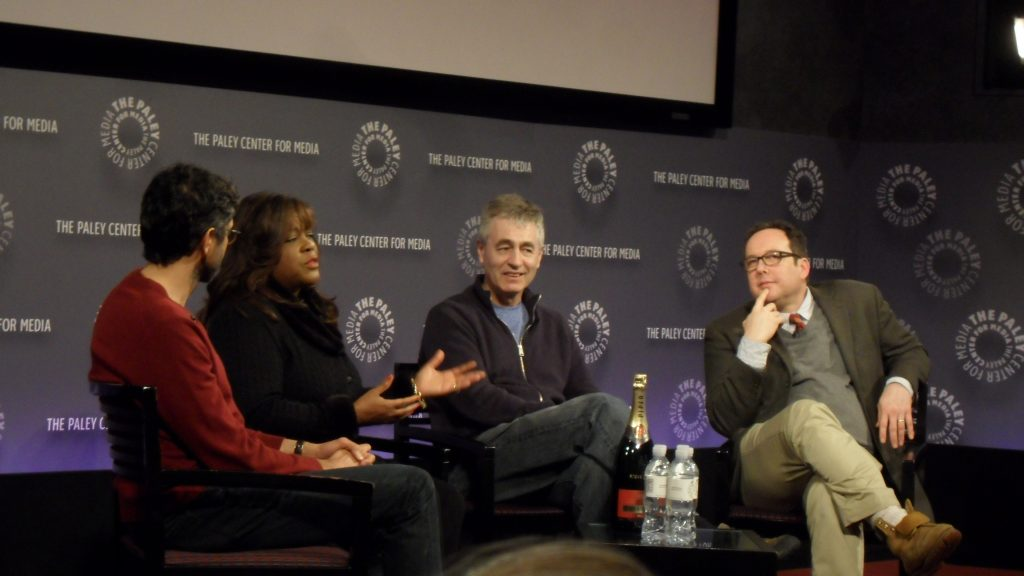 From left to right: Ramin Bahrani, Chaz Ebert, Steve James, and A.O. Scott