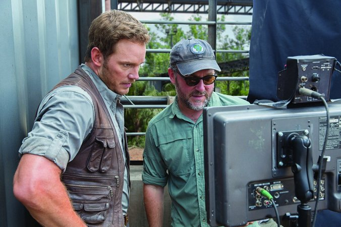 Chris Pratt and Colin Trevorrow on the set of Jurassic World