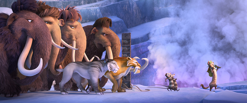 pub_120_670_184_4K_UniversalColor_WB – The herd sets off on a quest to save themselves from a Scrat-tastrope. (from left): Julian (voiced by Adam Devine), Peaches (voiced by Keke Palmer), Ellie (voiced by Queen Latifah), Manny (voiced by Ray Romano), Shira (voiced by Jennifer Lopez), Diego (voiced by Denis Leary), Crash and Eddie (voiced by Seann William Scott, Josh Peck), Buck (voiced by Simon Pegg). Photo credit: Blue Sky Studios