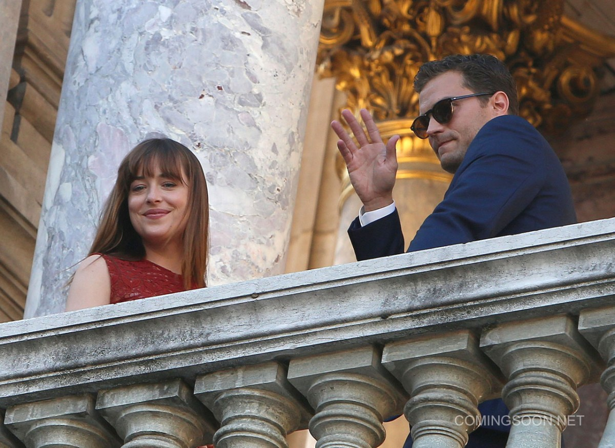 Filming on 'Fifty Shades Darker' takes place at Opera Garnier in Paris Featuring: Dakota Johnson, Jamie Dornan Where: Paris, France When: 18 Jul 2016 Credit: WENN.com **Not available for publication in France, Belgium, Spain, Italy**