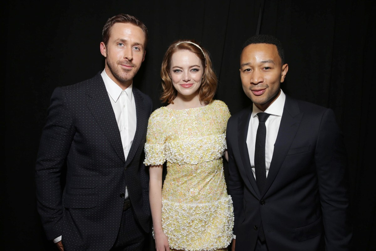 """Ryan Gosling, Emma Stone and John Legend seen at Summit Entertainment's """"La La Land"""" premiere at the 2016 Toronto International Film Festival on Monday, Sept. 12, 2016, in Toronto. (Photo by Eric Charbonneau/Invision for LionsgateAP Images)"""