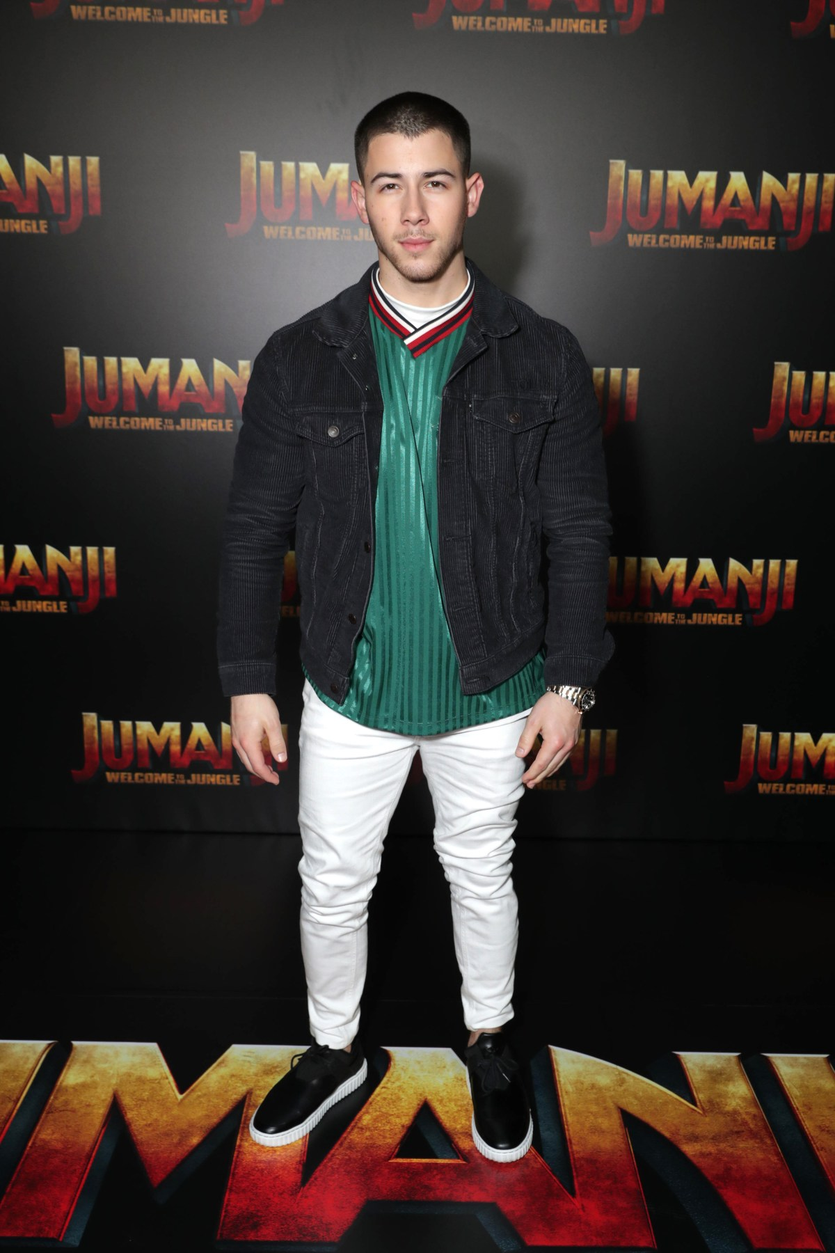 Nick Jonas seen at Columbia Pictures 'Jumanji: Welcome to the Jungle' photo call at 2017 CinemaCon on Monday, March 27, 2017, in Las Vegas.