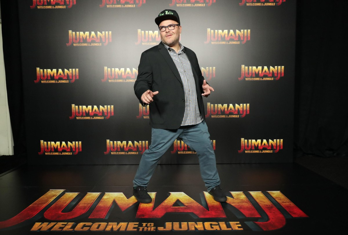Jack Black seen at Columbia Pictures 'Jumanji: Welcome to the Jungle' photo call at 2017 CinemaCon on Monday, March 27, 2017, in Las Vegas.