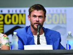SAN DIEGO, CA - JULY 22: Actor Chris Hemsworth from Marvel Studios' 'Thor: Ragnarok' at the San Diego Comic-Con International 2017 Marvel Studios Panel in Hall H on July 22, 2017 in San Diego, California. (Photo by Alberto E. Rodriguez/Getty Images for Disney) *** Local Caption *** Chris Hemsworth