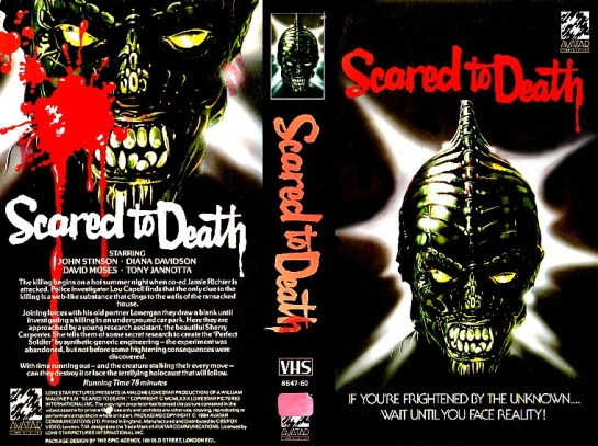 SCARED TO DEATH BRITISH AVATAR VHS SLEEVE