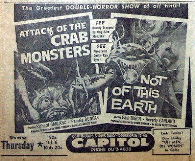 attack of the crab monsters + not of this earth 1957 ad mat