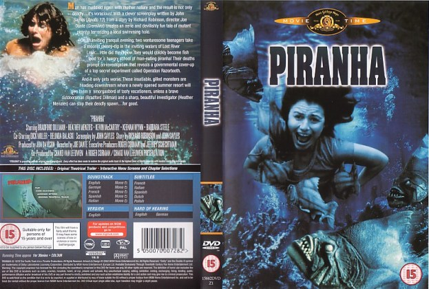 PIRANHA 1978 JOE DANTE BRITISH DVD SLEEVE