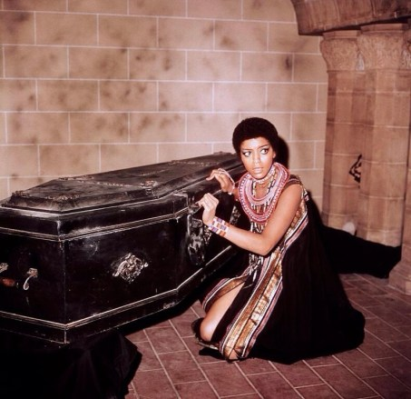 Vonetta McGee and coffin in Blacula 1972