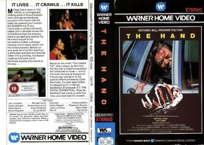 the hand michael caine warner home video UK VHS sleeve