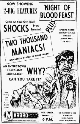two thousand maniacs + night of blood feast drive-in ad mat