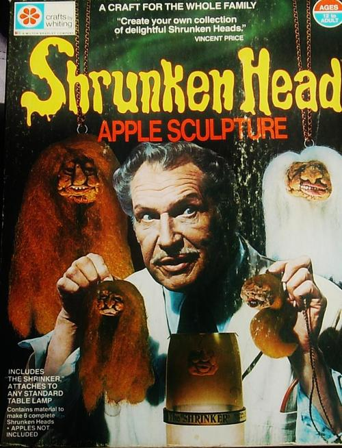 vincent price shrunken head apple sculpture