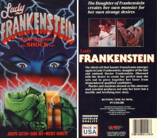 lady frankenstein vhs front & back