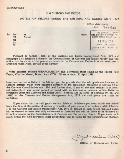 UK customs seizure notice