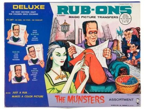 munsters rub-ons magic picture transfers
