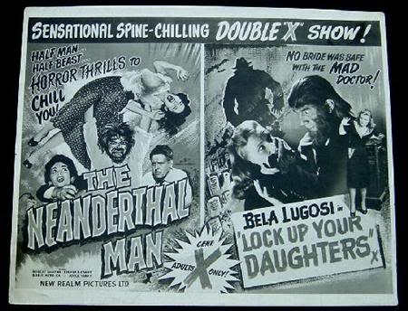 neanderthal man + lock up your daughters new realm X certificate british double-bill quad poster