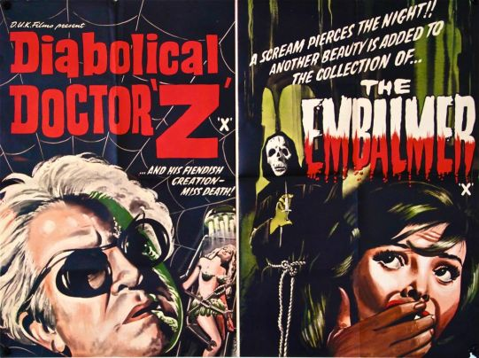 Diabolical & The Embalmer (double bill) UK Quad