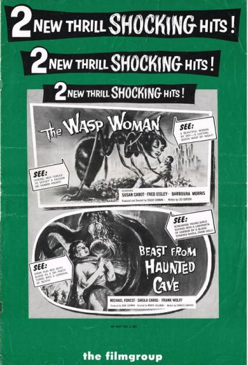 wasp woman + beast from haunted cave pressbook