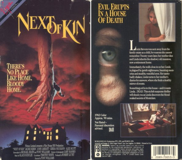 next of kin 1982 vhs front & back