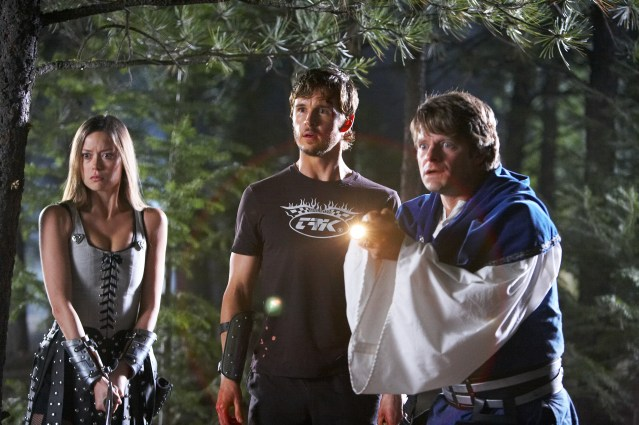 """DF-2708 (l to r) Summer Glau stars as """"Gwen"""", Ryan Kwanten as """"Joe"""" and Steve Zahn as """"Eric"""" in Entertainment One's upcoming release, KNIGHTS OF BADASSDOM."""