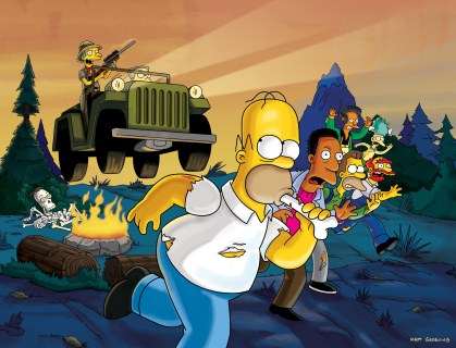 THE SIMPSONS: In ÒSurvival of the Fattest,Ó Homer and the gang learn they are being the hunted in ÒThe World Series Of ManhunterÓ hosted by (guest star) Terry Bradshaw on THE SIMPSONS ÒTreehouse of Horror XVIÓ special episode Sunday, Nov. 6, (8:00-8:30 PM ET/PT) on FOX. ª©2005THE SIMPSONS and TCFFC ALL RIGHTS RESERVED. ª©2005FOX BROADCASTING CR:FOX