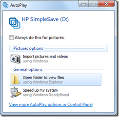 HP SimpleSave autoplay