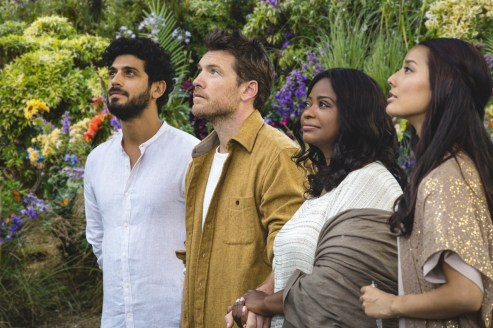 Jesus (Aviv Alush, far left), Mack Phillips (Sam Worthington, center left), Papa (Octavia Spencer, center right) and Sarayu (Sumire Matsubara, far right) in THE SHACK.