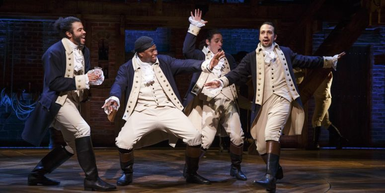 Hamilton in the first scenes of the stage production