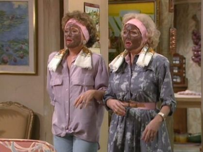 Rose and Blanche wearing mud masks (or something that looks like 'Blackface')